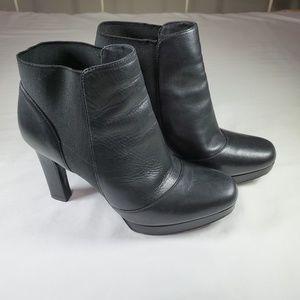Via Spiga Black Leather High Heel Ankle Boots, 7M